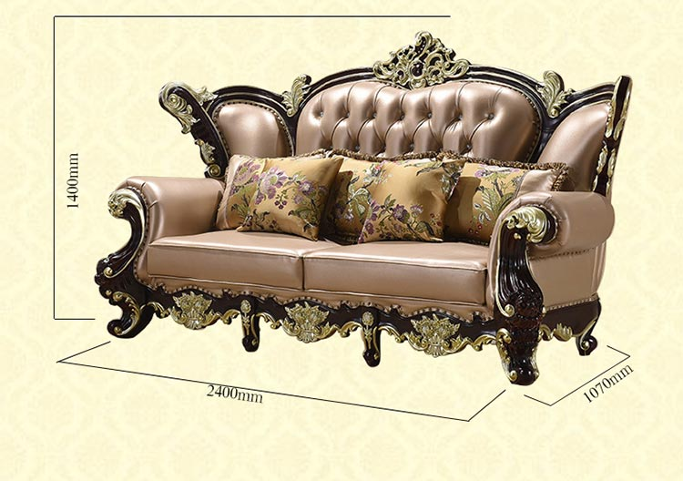 梦达三人酒店欧式沙发尺寸示意图