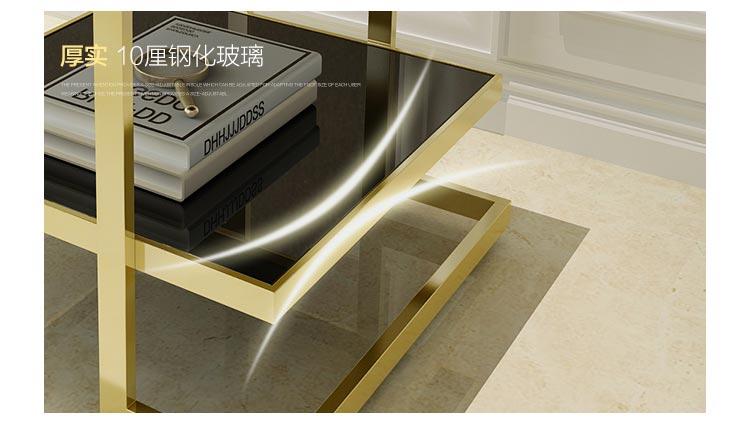 梦达酒店不锈钢茶几,10cm厚钢化玻璃