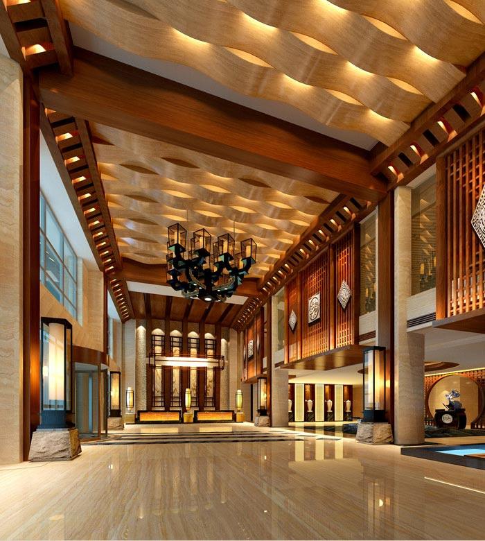泰安飞龙酒店大堂前厅装修效果图