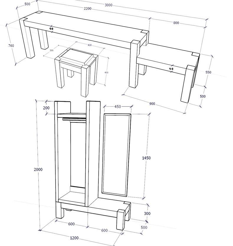 梦达高档酒店家具桌、柜组合尺寸示意图