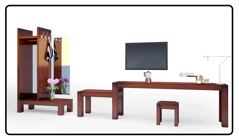 梦达高档酒店家具系列电脑桌、挂衣柜设计效果图