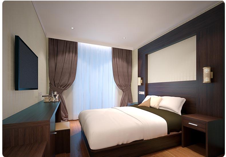 梦达快捷酒店客房家具系列床+床头图片
