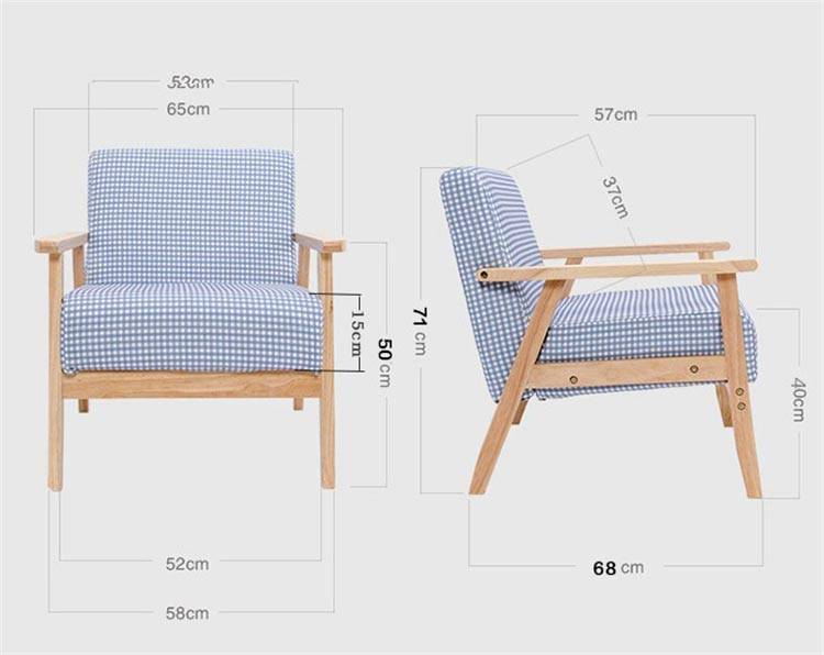 梦达宾馆酒店沙发单人款尺寸示意图