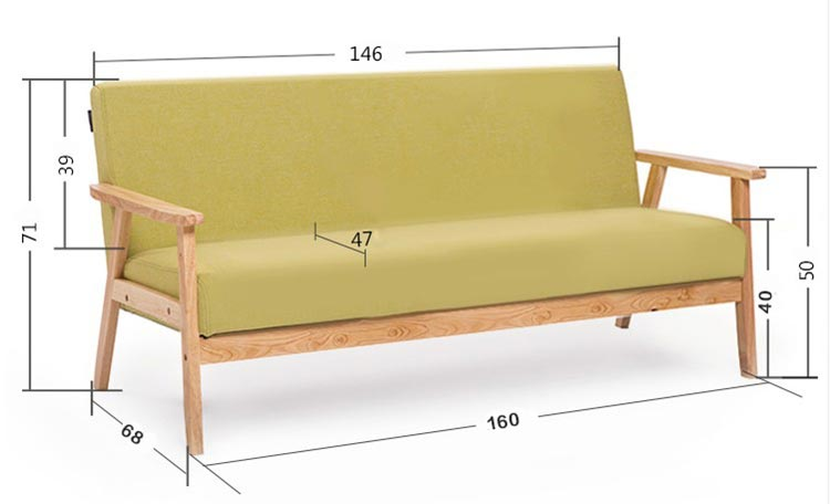 梦达宾馆酒店沙发三人款尺寸示意图