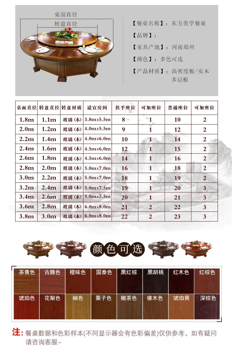 梦达酒店用餐桌产品型号