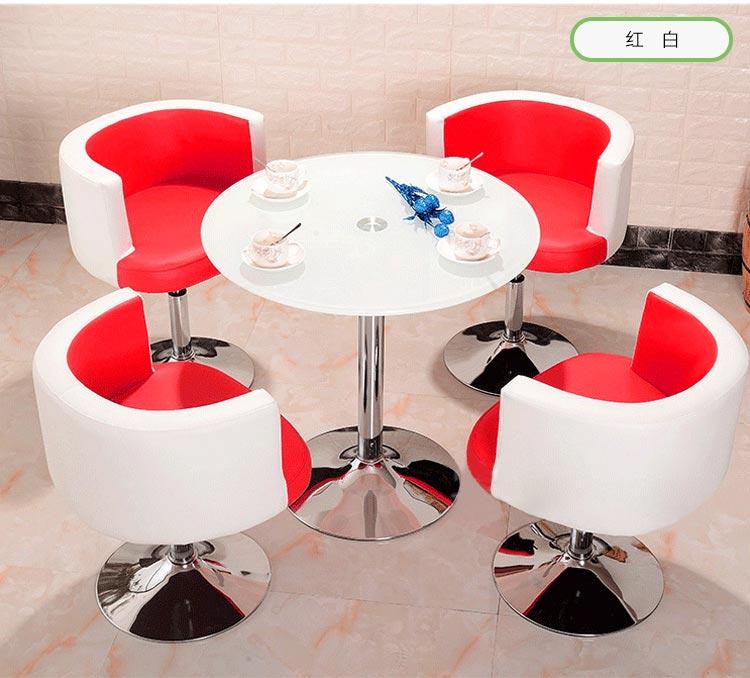 红白色售楼中心桌椅图片