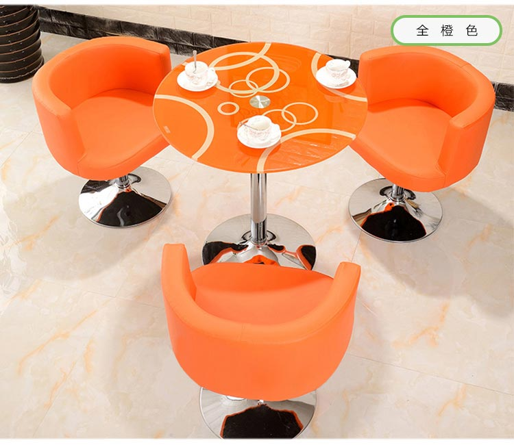 全橙色售楼中心桌椅图片