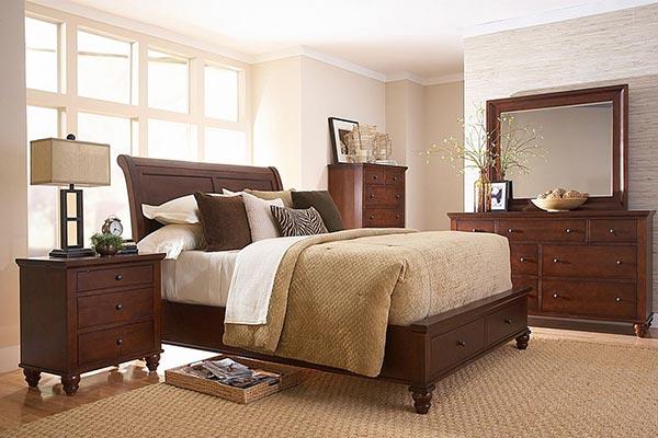 酒店实木双人床图片