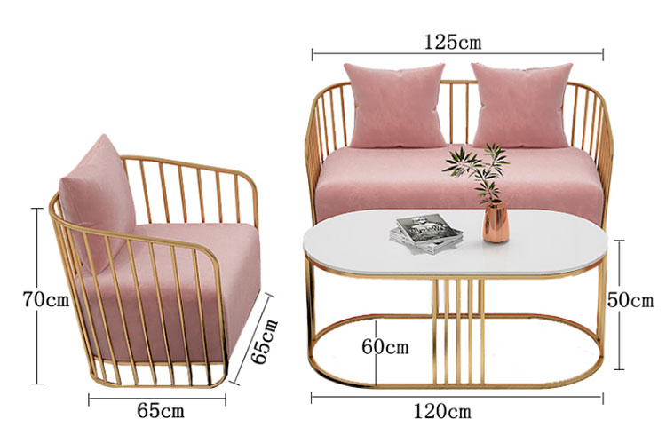美容院专用双人沙发尺寸示意图