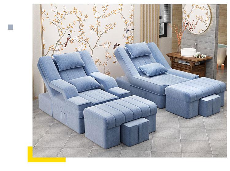 天蓝色电动足浴沙发床图片