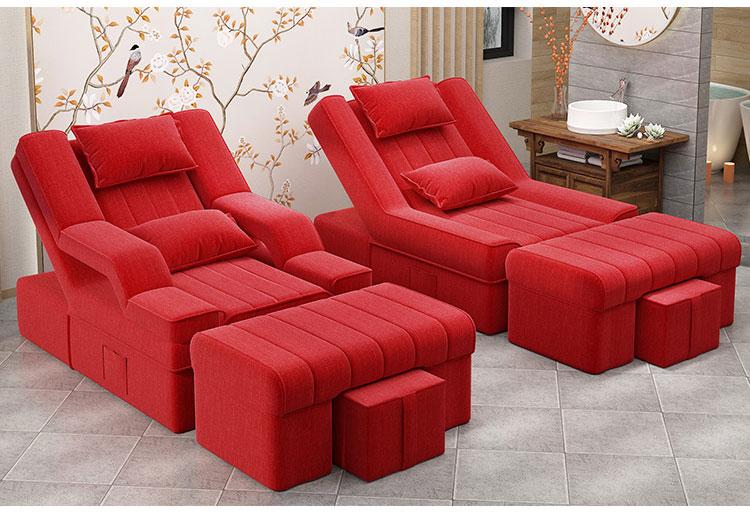 红色电动足浴沙发床图片